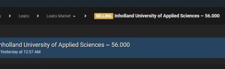 Screenshot van het forum waarop de gegevens van InHolland worden aangeboden Beeld de Volkskrant