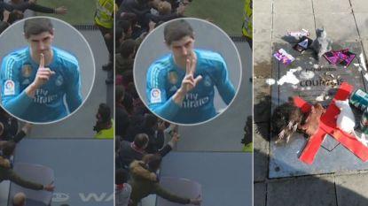"""Atlético-fans willen gedenkplaat Courtois weg nadat hij na derby uitpakte met handgebaren:  """"Hij verdient die plaat niet"""""""