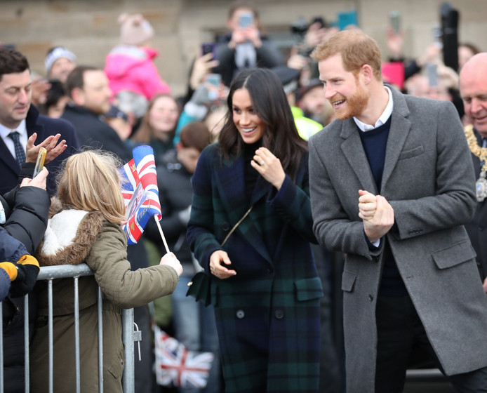 Prins Harry en Meghan Markle bezoeken Edinburgh Castle. Foto Stephen Lock