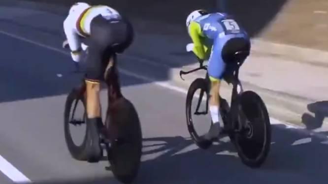 Image forte: Filippo Ganna dépasse Pogacar, vainqueur du Tour, lors des championnats d'Europe du contre-la-montre