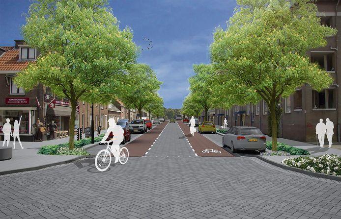 Een impressie van de Geldropseweg in Eindhoven na de geplande herinrichting.