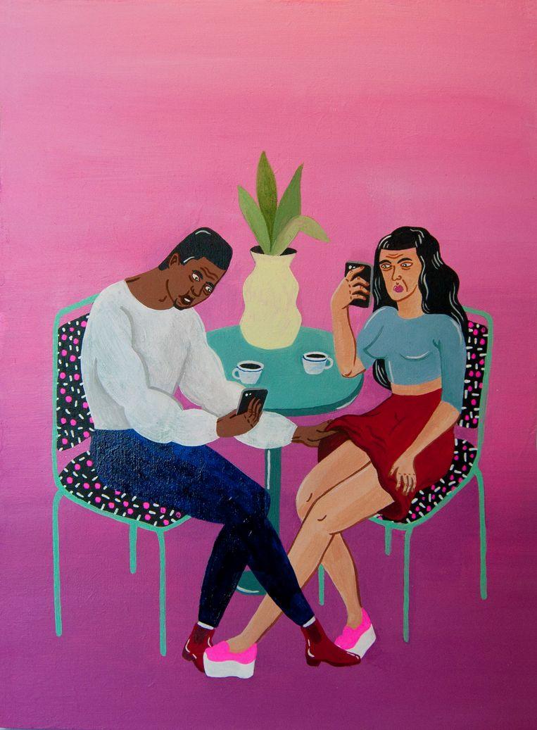 De werkjes van Joëlle Dubois zijn klein, en de afgebeelde mensen hebben alle huidskleuren.  Beeld rv Joëlle Dubois