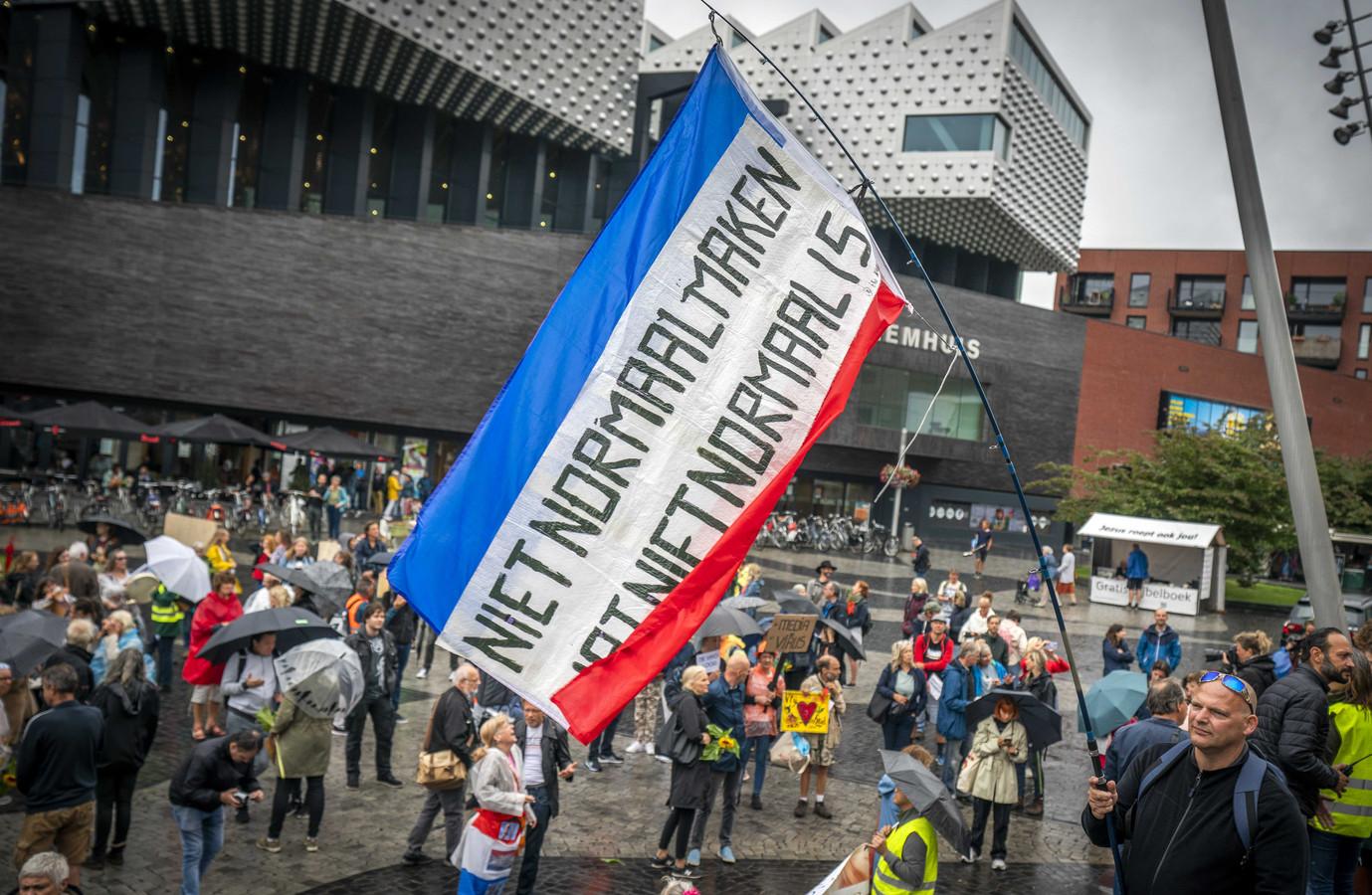 Demonstranten voeren actie tegen de coronamaatregelen, vorige week in Amersfoort.