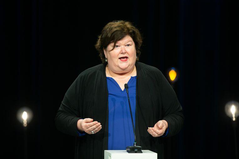 Federaal minister van Volksgezondheid Maggie De Block (Open Vld) was het politieke middelpunt van de strijd tegen het coronavirus. Beeld BELGA