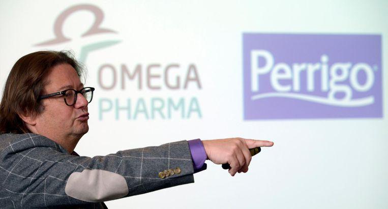 Marc Coucke toen hij de overname van Omega Pharma door Perrigo aankondigde.  Beeld photo_news
