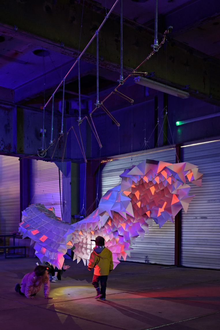 Ana Oostings borstelworm is zes meter lang en gemaakt van papier en reflectoren. Beeld Ana Oosting