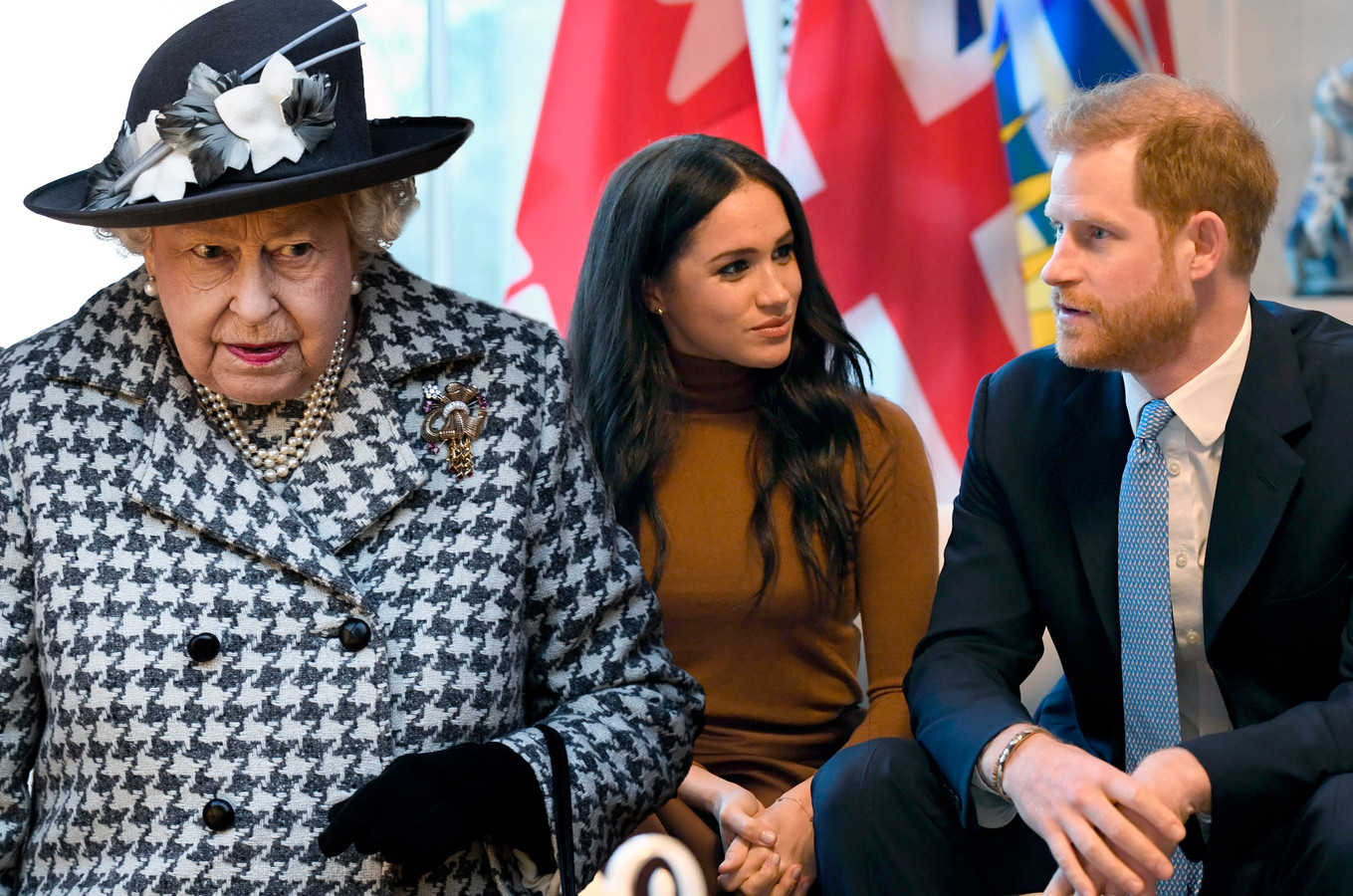 Queen Elizabeth, Meghan Markle en prins Harry.