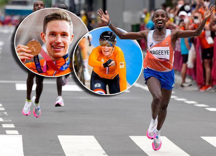 Abdi Nageeye komt juichend als tweede over de finish van de marathon. Inzetjes: dubbel brons: Harrie Lavreysen en Kirsten Wild.
