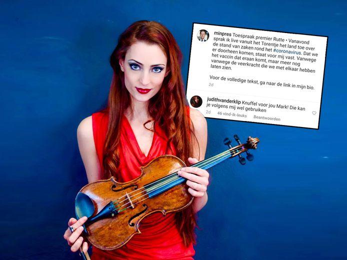 Violiste Judith van der Klip reageerde op Instagram op een post van Mark Rutte.