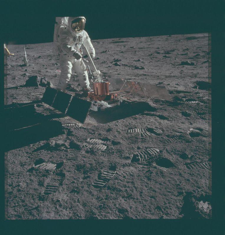 NASA-beelden van de eerste bemande missie naar de maan in 1969, Apollo 11. Beeld NASA