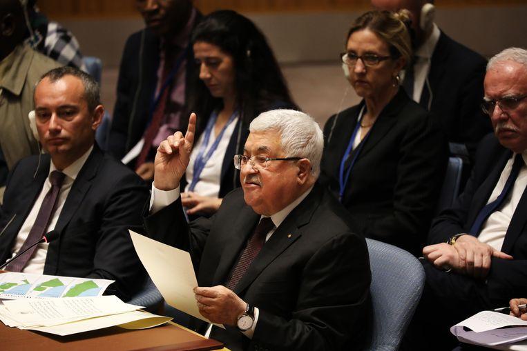 De Palestijnse president Mahmoud Abbas spreekt bij de veiligheidsraad van de Verenigde Naties in New York.  Beeld Spencer Platt / Getty Images