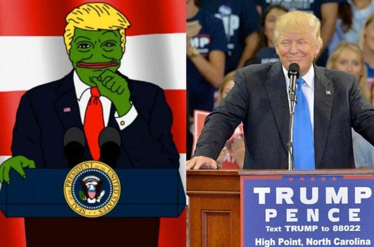 Trump gebruikte het beeld van Pepe al verschillende keren, vaak met op hemzelf geïnspireerde trekken. Beeld Getty