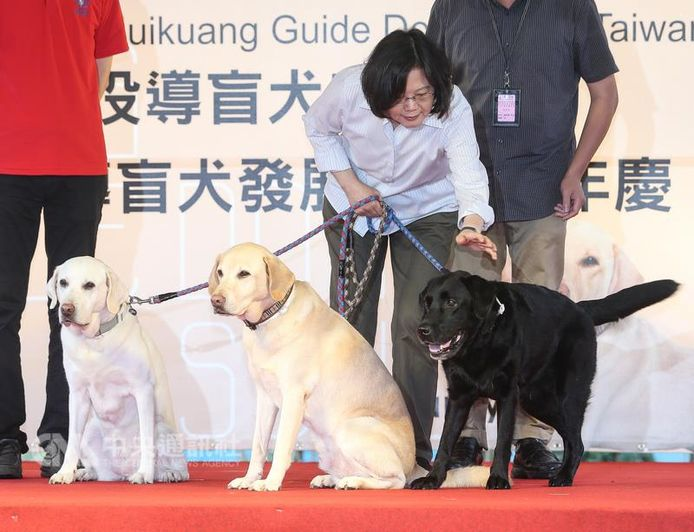 De Taiwanese president Tsai Ing-wen met drie van haar geadopteerde honden.