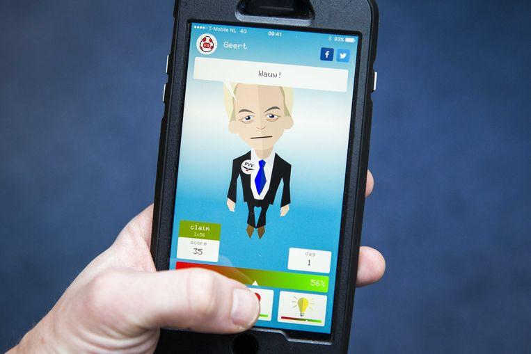 De mobiele applicatie Kamergotchi van het VPRO-programma Zondag met Lubach. Beeld ANP