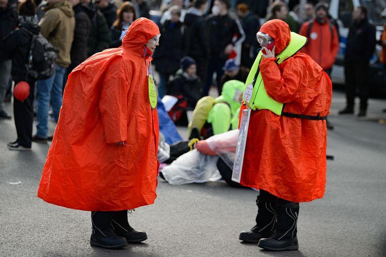 Demonstratie tegen de coronamaatregelen in de deelstaat Hessen, Duitsland, afgelopen zaterdag.  Beeld Swen Pförtner/dpa