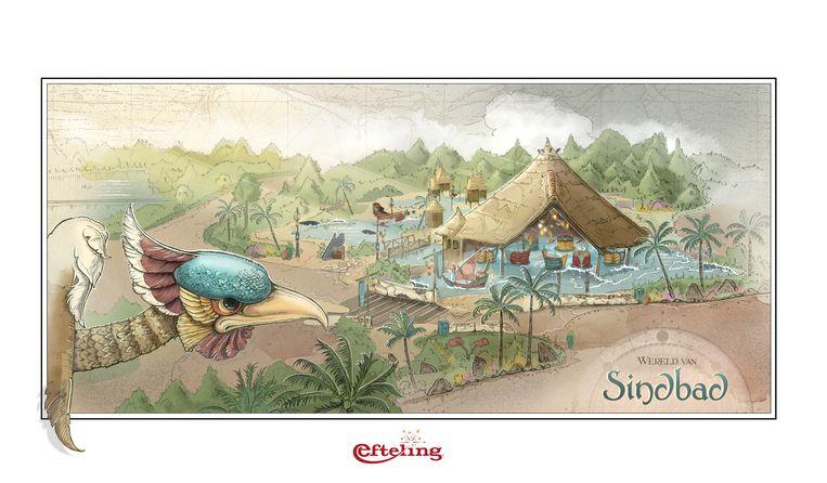 Tekening van de nieuwe attractie Sirocco, ontworpen door Sander de Bruijn Beeld Efteling
