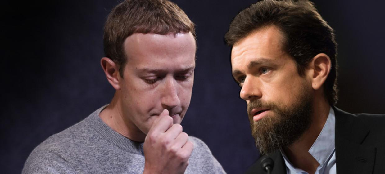Mark Zuckerberg versus Jack Dorsey: Facebook en Twitter staan lijnrecht tegenover elkaar in hun beleid rond politieke advertenties. Beeld de Volkskrant