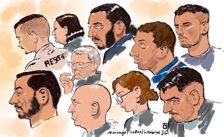 Rechtbanktekeningen van de verdachten.  Beeld ANP