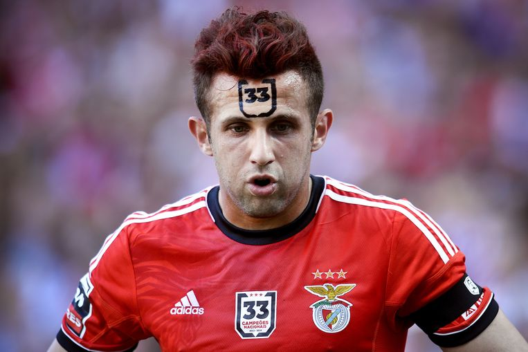 TOPSHOTS Benfica's Serbian forward Miralem Sulejmani with the number 33 painted in his forehead, the number of Portuguese League title won by Benfica, reacts during the Portuguese League football match SL Benfica vs Vitoria Setubal FC at the Luz stadium in Lisbon on May 4, 2014.   AFP PHOTO/ PATRICIA DE MELO MOREIRA Beeld AFP