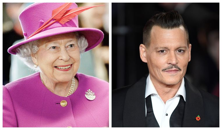Queen Elizabeth en Johnny Depp