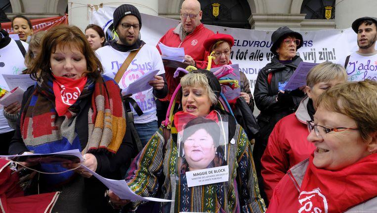 Voorbije zaterdag vond er in Brussel al een betoging plaats naar aanleiding van Internationale Vrouwendag. Beeld BELGA