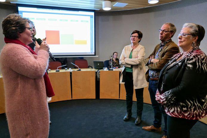 Carine Blom van Progressief'96 (links) verklaart de winst van haar partij bij de gemeenteraadsverkiezing in Haaren. Naast haar Boy Scholtze van de VVD. Schuin tegenover haar glundert de andere winnaar: lijsttrekker Ans Beijens van het CDA. Kopman Johan van den Brand van Samenwerking'95 is minder blij. Helemaal rechts burgemeester Jeannette Zwijnenburg.