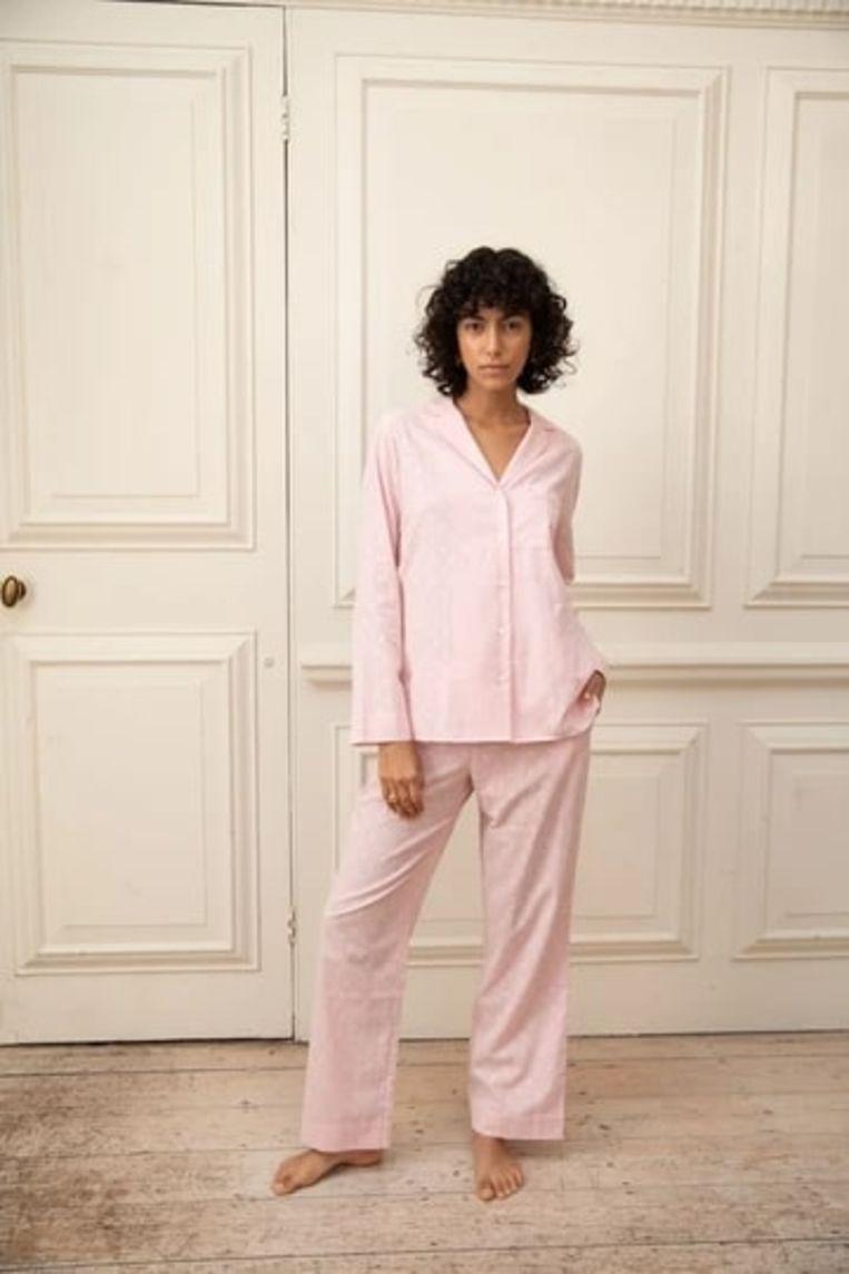 Yolke Cotton Pyjama Set in Pink Jacquard Beeld Yolke