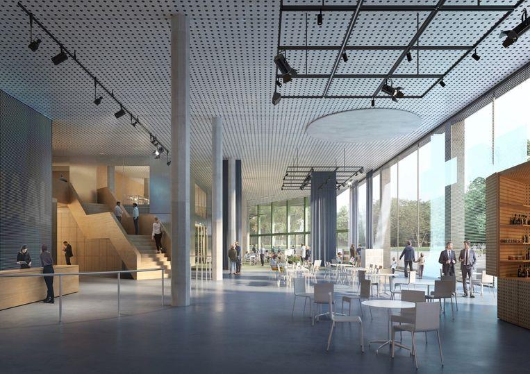 In het nieuwe VRT-gebouw voeren open ruimtes de boventoon. Beeld VRT