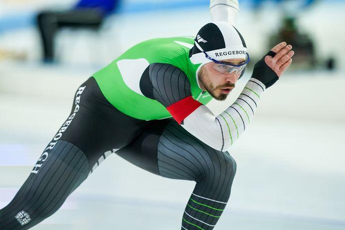 Gijs Esders in het groen-zwart-witte pak van Team Reggeborgh.