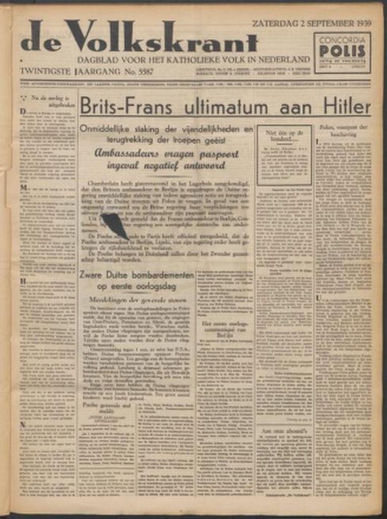 Voorpagina Volkskrant, 2 september 1939 Beeld -