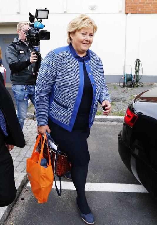 Erna Solberg, voorzitster van de Noorse conservatieve partij.
