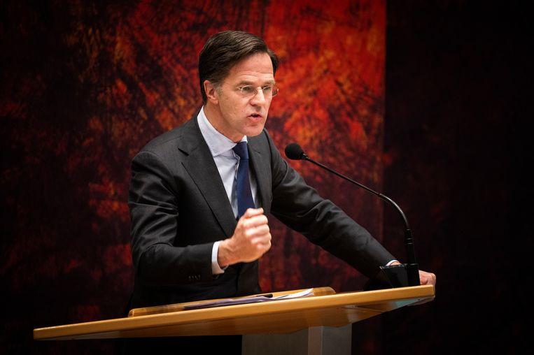 Mark Rutte (VVD) tijdens het debat over de gelekte stukken van de verkenners. Beeld Freek van den Bergh / de Volkskrant