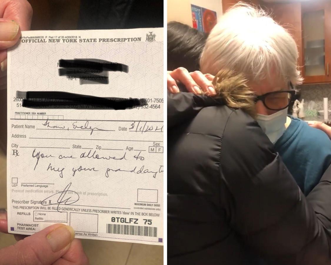 Un câlin, c'est ce que le médecin a ordonné à cette grand-mère de New York.