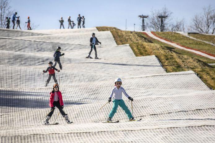 De skihelling bij +18 graden.