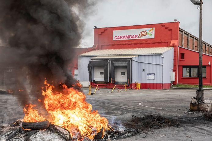 Grève des salariés de l'usine française Carambar à Marcq-en-Baroeul dans les Hauts de France