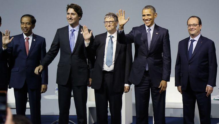 President Widodo, premier Trudeau, Bill Gates, president Obaa en de gastheer Hollande. Beeld AFP