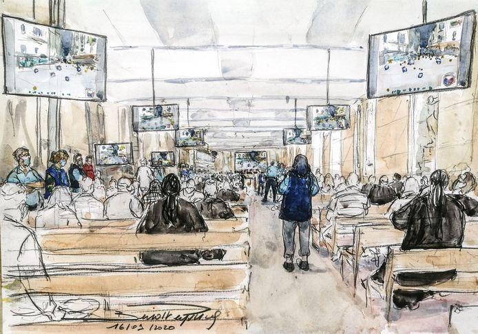 Een schets van de Parijse rechtszaal tijdens het proces.