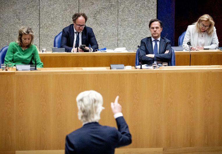 Wilders versus Rutte, donderdag in het debat over de ministerraadnotulen.  Beeld EPA