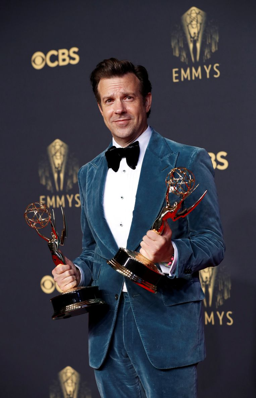 Acteur Jason Sudeikis won een Emmy voor beste acteur in de comedyserie Ted Lasso.  Beeld Reuters