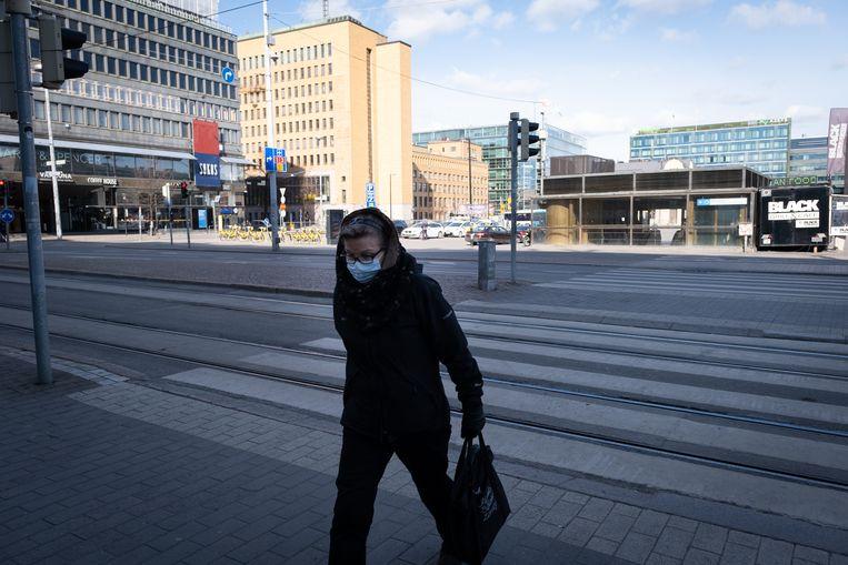 Een verlaten Helsinki.  Beeld Anadolu Agency via Getty Images