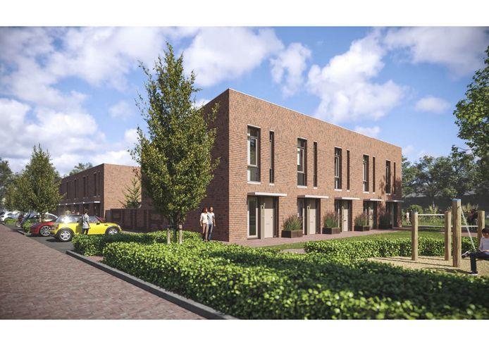 Bouwplan PuurHelmond: twaalf koopwoningen gaat de ontwikkelcombinatie Nedersticht en Zuidvast Projecten bouwen op Suytkade in Helmond. Hier kijk je op de Taftstraat.