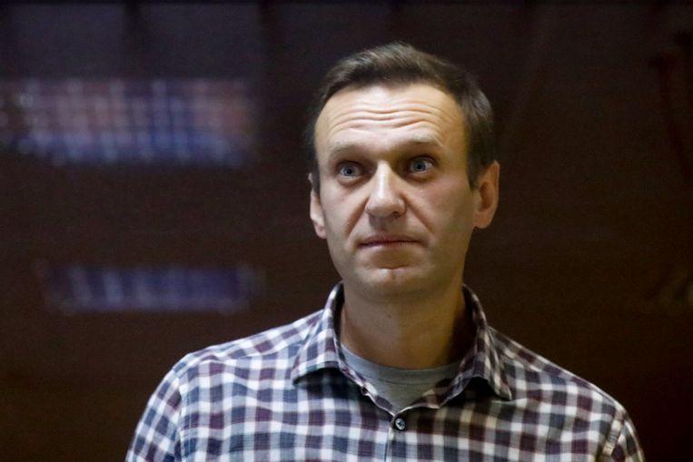 De Russische oppositieleider Aleksej Navalny tijdens zijn proces in Moskou. Beeld AP