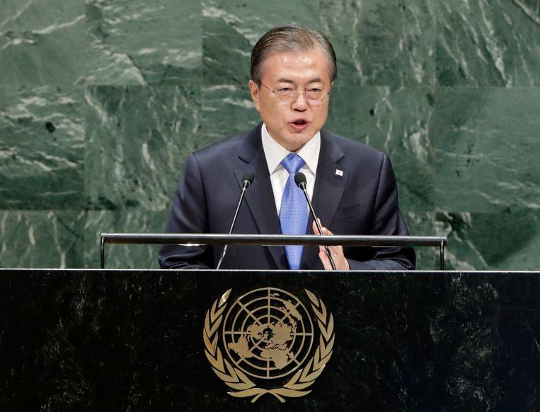 De Zuid-Koreaanse president Moon Jae-in spreekt de algemene vergadering van de Verenigde Naties toe. Beeld EPA