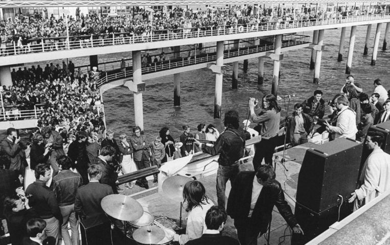 De Haagse groep Q65 tijdens een optreden op de Pier, juni 1966. Beeld anp