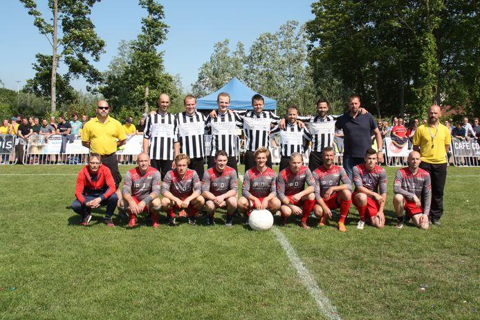 KRB Jabbbeke (bovenaan, in het zwart-wit) startte overtuigend aan het nieuwe krachtbalseizoen. Foto genomen tegen KRB Sint-Michiels (onderste rij).© RV