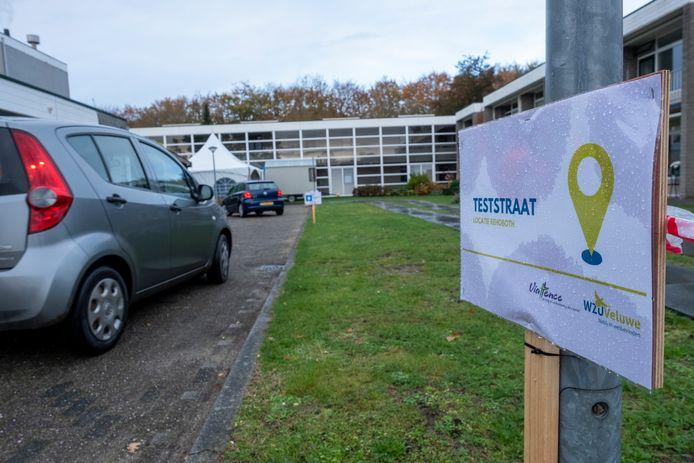 De gezamenlijke teststraat van de Veluwse ouderenzorgorganisaties bij Rehoboth in Wapenveld.