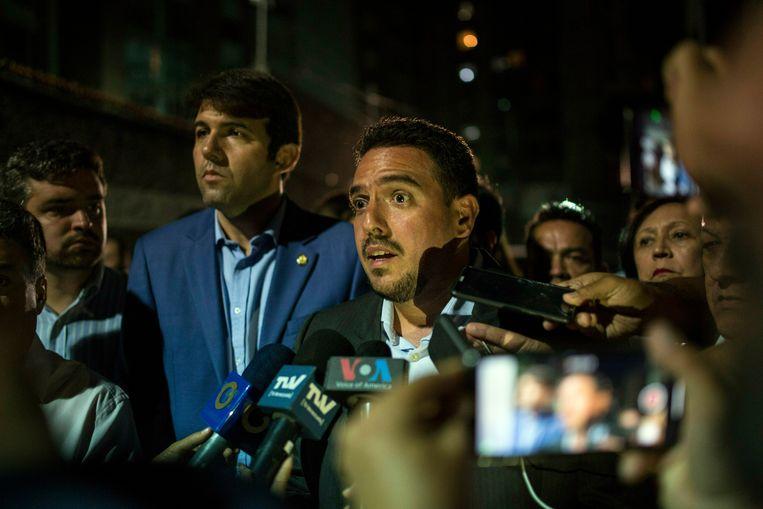 De arrestatie van Zambrano wordt bekendgemaakt tijdens een persconferentie.  Beeld AP
