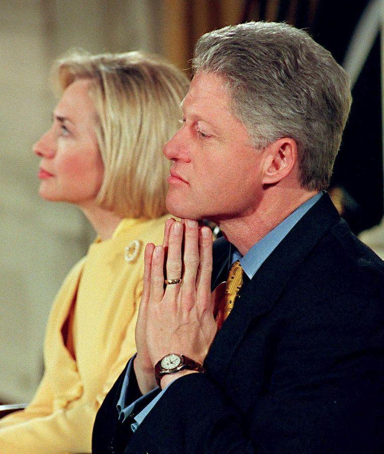 Beeld uit 1998, ten tijde van de onthullingen rond de affaire-Lewinsky. Beeld belga