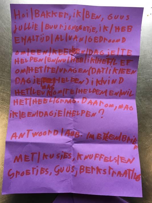 De handgeschreven brief van Guus aan Bakkerij Olde Keizer