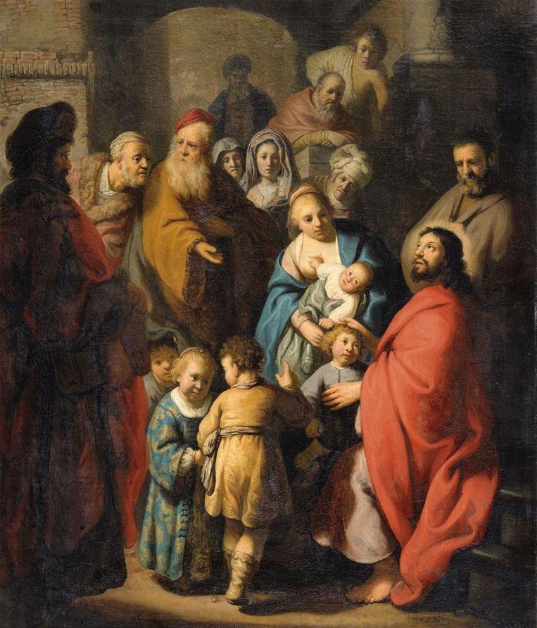 Het door Jan Six ontdekte Rembrandt, Laat de kinderen tot mij komen (1627 - 1628). Beeld veilinghuis Lempertz